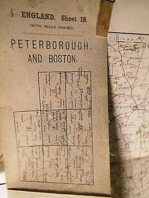 Peterborough-Boston Fens & The Wash:antique Edwardian Ordnance Map 1906-1914