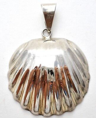 Taxco Seashell Pendant Sterling Silver Large Shell for Necklace Vintage Jewelry