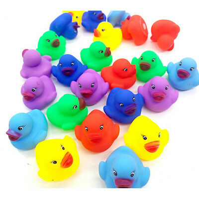 12 Pcs Colorful Baby Children Bath Toys Cute Rubber Squeaky Duck Ducky T Ln