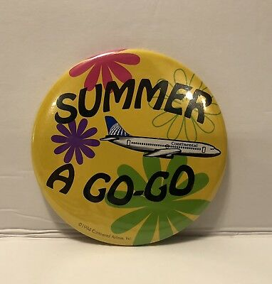 Continental Airlines Summer A Go-Go 1994 Vintage Large Button