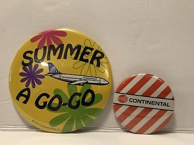 Lot Of 2 Continental Airlines Buttons Summer A Go-Go Orange Stripe