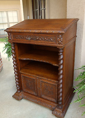 Antique French Carved Oak Barley Twist PODIUM Lectern Cabinet Pulpit Stand