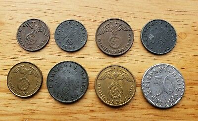 Original Nazi Germany Third Reich 8 Coin Collection