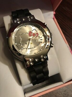 NEW Hello Kitty Watch by Sanrio Quartz Collectible Rare Black Band With Box