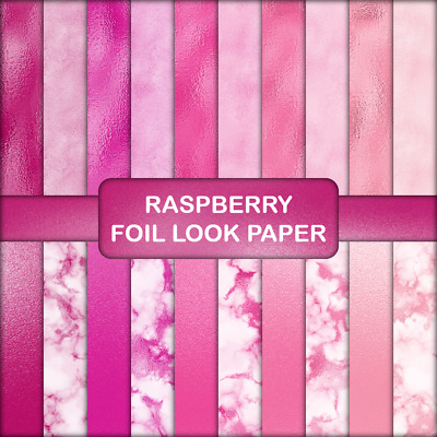RASPBERRY FOIL LOOK SCRAPBOOK PAPER - 20 x A4 pages.
