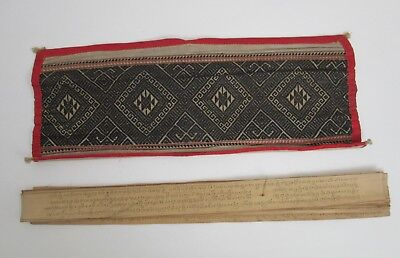Antique Burmese Buddhist Palm Leaf Manuscript and Woven Cover - £25