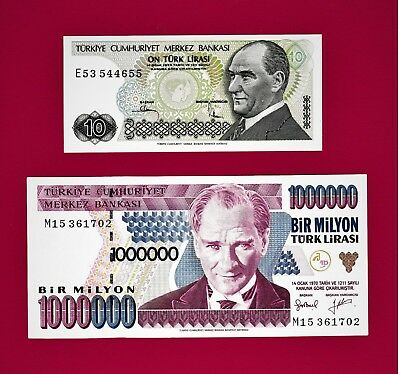 ULTRA-RARE NOTES (in UNC Condition) from 10 Lira to 1,000,000 Lirasi 1970 TURKEY