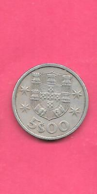 Portugal Km591 1969 Vf-Very Fine-Nice Large Old Pre-Euro 5 Escudos Coin