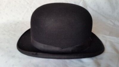 VINTAGE BLACK BOWLER HAT, by G.A. DUNN of LONDON.