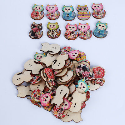 50pcs Mixed 2 Hole Wood Butterfly Cat Sewing Scrapbooking Craft Buttons Decor CB