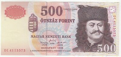 Hungary 500 Forint 1998 Hungarian National Banknote Pick: 179a In UNC