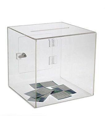 Source One Premium Acrylic Cube Donation Box with Deluxe Rear Open Door and C...