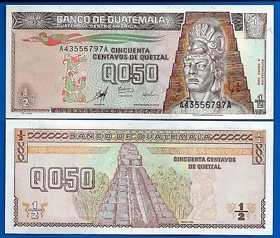 Guatemala P-98 One Half Quetzal Year 12.2008 About Uncirculated Polymer Banknote