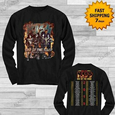 Kiss End of the Road World concert Tour 2019 Long Sleeve T-shirt Men size Gildan
