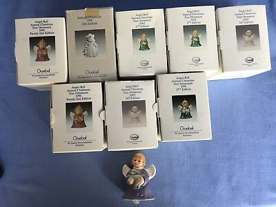 Vintage 9 Goebel Hummel Christmas Angel Bells Holiday Ornaments