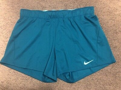 NWT $25 NIKE Dri-Fit Athletic Teal Workout Shorts w/Drawstring Womens Size M