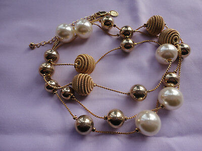 "Goldplated signed M&S pearls golden fabric balls 42-45"" flapper 55 gram necklace"