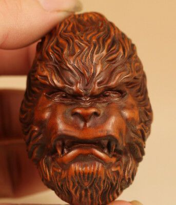 nice Chinese Old Boxwood Hand Carved hell monkey head Figure Statue collectable