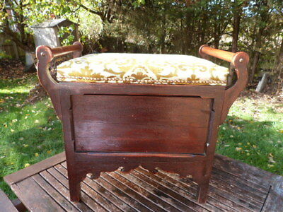 Lovely Antique Wooden Upholstered Piano Stool With Storage.