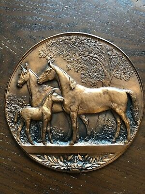 Vintage Horse Mares And Foal Metal Wall Hanging Plaque Unique