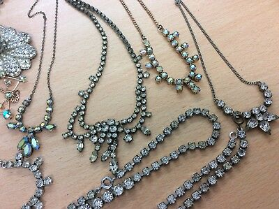 GREAT JOB LOT OF14 VINTAGE COSTUME DIAMONTE NECKLACES ALL GOOD 1950's 175 g