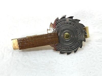 Vintage Green Mountain Lumber & Box Saw Blade Metal Wood Tie Clasp