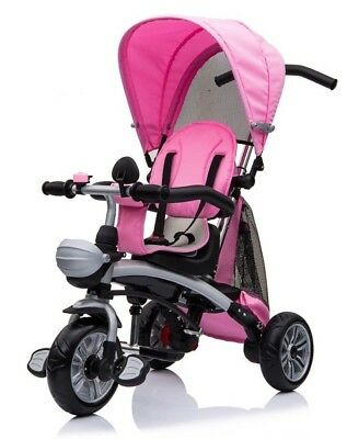 Kids Baby 4 in 1 Trike Tricycle 3 Wheel Stroller Buggy Parent Push Bar Bike Pink