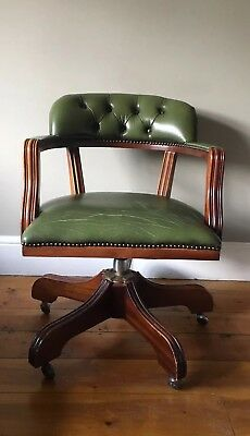 Chesterfield Style Captains Swivel Office Button Chair Distressed Green Leather