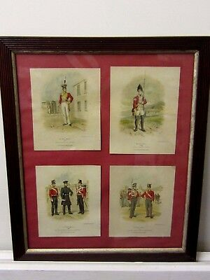 1893 Framed Series of Military Lithographs by R.Simpkin of the 57th Regiment
