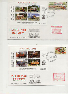 Isle of Man 1993 Pair of Steam Railway/MER Letter Stamp Sheetlet covers
