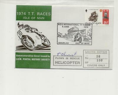 Isle of Man 1974 TT Cover, Flown in Rescue Helicopter, Signed, No 16 of 100