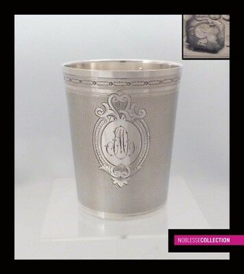 ANTIQUE 1860s FRENCH STERLING SILVER BEAKER GOBLET Napoleon III st. 3.74 in. 4oz