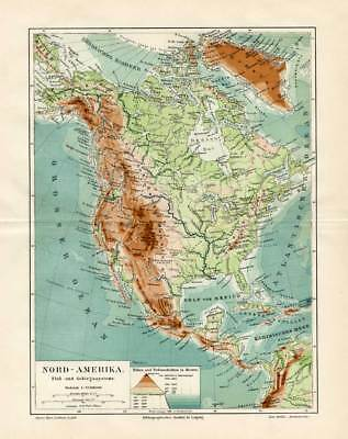 Antique Map-NORTH AMERICA-MOUNTAIN-RIVER-Meyers-1895