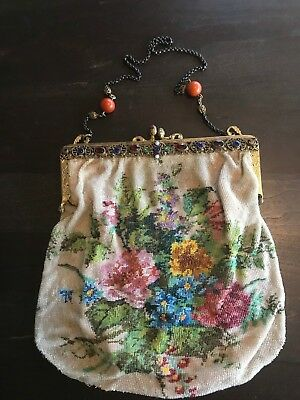 Vintage Antique Glass Micro Beaded Floral Purse Handbag with Jeweled Frame