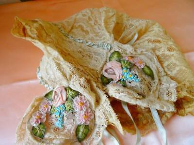Delightful Vintage 1920's Lace Boudoir Hat With Ribbon Roses