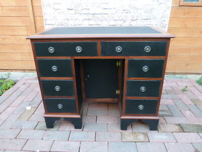 Lovely Vintage Painted Eight Drawer Knee Hole Leather Top Desk