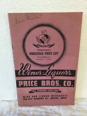 Rare 1941 Wines Liquors Catalog Booklet Price Bros Co Boston Mass