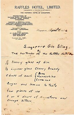 Singapore Gin Sling Recipe on 1936 Raffles Hotel Stationery - Good Condition