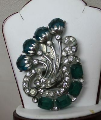 Antique Vintage Signed STARET Art Deco Dress Clip Huge Green Rhinestones RARE