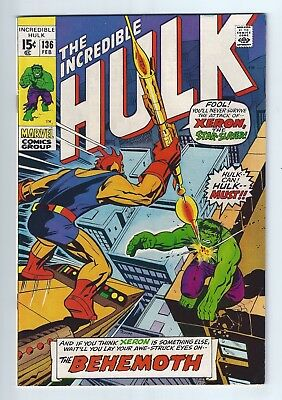 INCREDIBLE HULK #136 (1971)  VFN+ 8.5 White Pages, unstamped cents