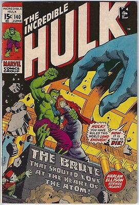 INCREDIBLE HULK #140 (1971)  FN+ 6.5 unstamped cents