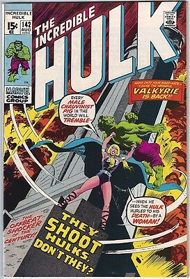 INCREDIBLE HULK #142 (1971)  FN+ 6.5 unstamped cents