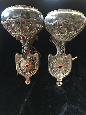 Antique 1920s Art Deco Wall Sconce Pair Restoration Needed