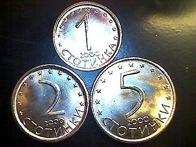 BEAUTIFUL & UNCIRCULATED Coins Set - BULGARIA 1, 2, 5 Stotinki 2000 + Free Note