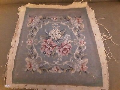 Vintage Floral Handworked Needlepoint Seat Cover Panel For Craft £20!