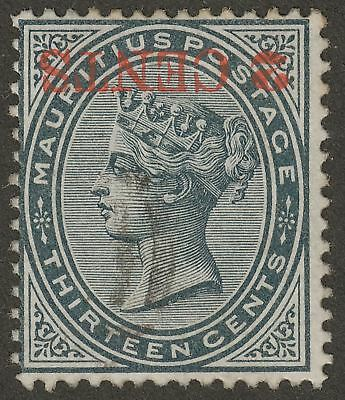 Mauritius 1887 QV 2c on 13c Slate Surcharge Inverted Used SG117a cat £300