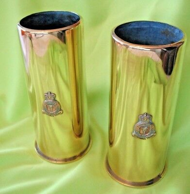 Matching pair of vintage Royal Air Force Squadron brass trench art spill vases