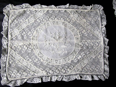 Vintage Pair of Normandy Lace Boudoir Pillowcases French Lace Whitework
