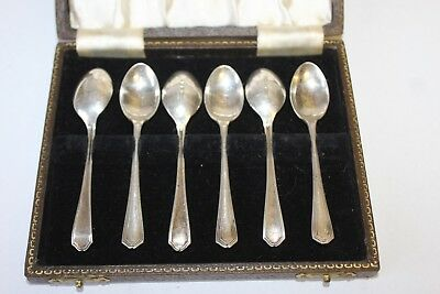 Hallmarked Set Of Six Silver Teaspoons Art Deco 1940 James Dixon & Sons In Box