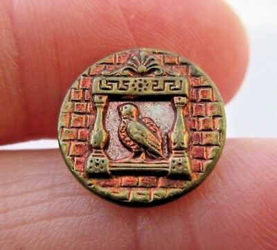 """Sweet Small Antique~ Vtg Victorian Metal Picture BUTTON Bird in Window 5/8"""" (K)"""
